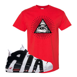 Air More Uptempo White Black Red T Shirt | Red, All seeing Eye