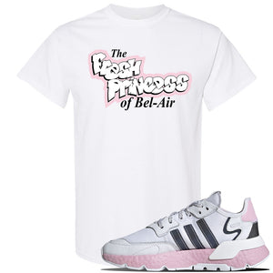 WMNS Nite Jogger Pink Boost Sneaker White T Shirt | Tees to match Adidas WMNS Nite Jogger Pink Boost Shoes | Fresh Princess Of Bel Air