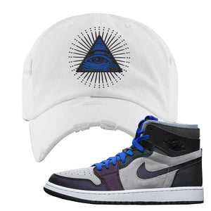 Air Jordan 1 High Zoom E-Sports Distressed Dad Hat | All Seeing Eye, White