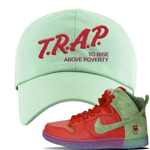 SB Dunk High 'Strawberry Cough' Dad Hat | Sage Green, Trap To Rise Above Poverty