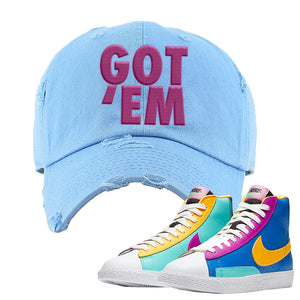 Blazer Mid Big Kids Distressed Dad Hat | Light Blue, Got Em