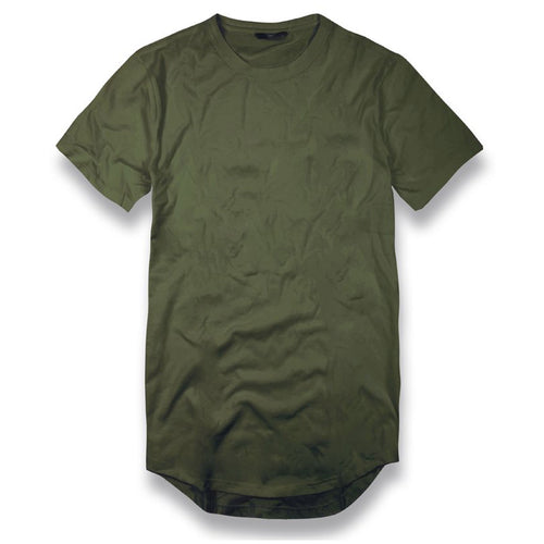 the army green long body drop tail t-shirt is army green with short sleeves and a long body with a drop tial