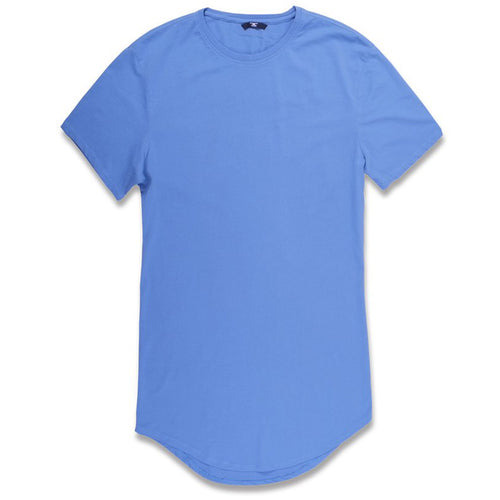 the baby blue long body drop tail t-shirt is baby blue with short sleeves and an elongated body