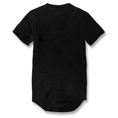 the black long body drop tail t-shirt is solid black with a crew neck, short sleeves, and a long tail