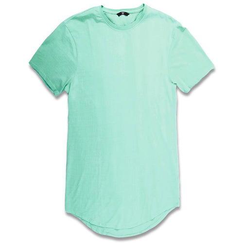 the mint long tail t-shirt is mint with a crewneck, short sleeves, and an elongated body drop tail.