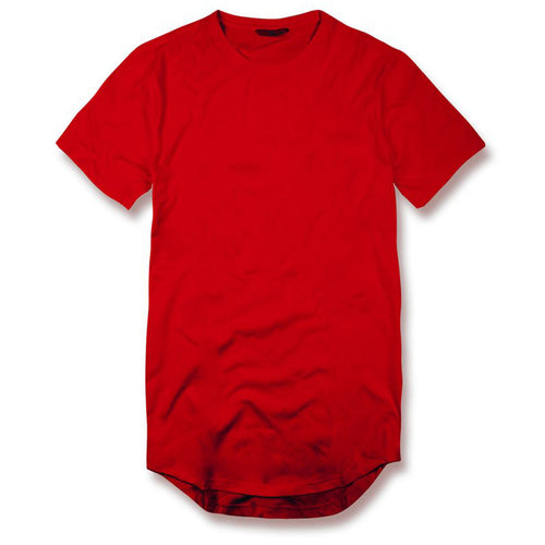 the jordan craig red long body drop tail t-shirt is solid red with short sleeves and an extended body