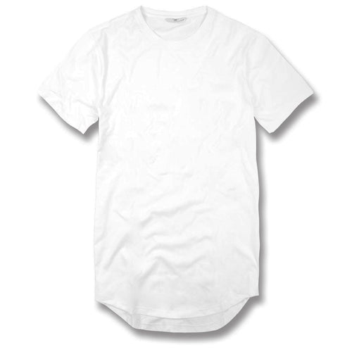 the jordan craig white extended tail tee features a long scoop tail , short sleeves, and a crewneck