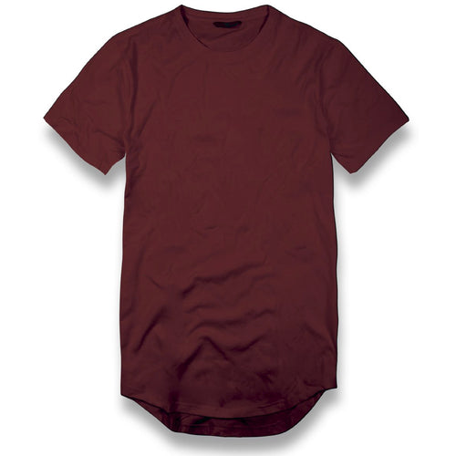 the long tail scoop wine t-shirt is solid maroon and features zippers on either side