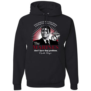 Standard Issue The Marines Featuring Ronald Reagan Black Pullover Grunt Life Hoodie
