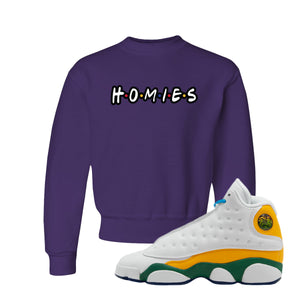 Homies Deep Purple Kid's Crewneck Sweatshirt to match Air Jordan 13 GS Playground Kids Sneakers
