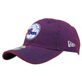 on the left side of the Philadelphia 76ers purple hue dad hat is the New Era logo embroidered in white