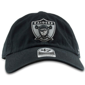 Embroidered on the front of the black Raiders dad hat is the Oakland Raiders logo