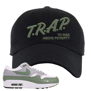 Air Max 1 Spiral Sage Dad Hat | Trap To Rise Above Poverty, Black
