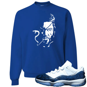 Jordan 11 Low Blue Snakeskin Metal Snake Royal Blue Crewneck Sweater
