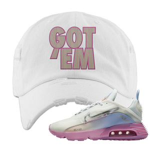 Air Max 2090 Airplane Travel Distressed Dad Hat | Got Em, White