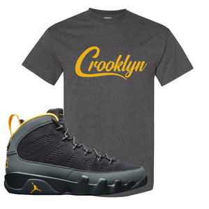 Air Jordan 9 Charcoal University Gold T Shirt | Crooklyn, Smoke Grey