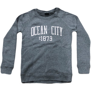 Printed on the front of the graphite Ocean City women's raglan crewneck has the words Ocean City and the year 1879 printed in a light pink