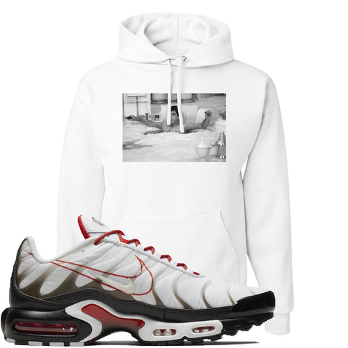 Nike Air Max Plus White University Red Sneaker Match Bathtub Scarface White Hoodie