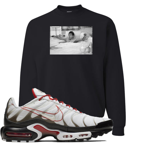 Nike Air Max Plus White University Red Sneaker Match Bathtub Scarface Black Sweater