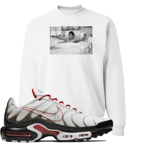 Nike Air Max Plus White University Red Sneaker Match Bathtub Scarface White Sweater