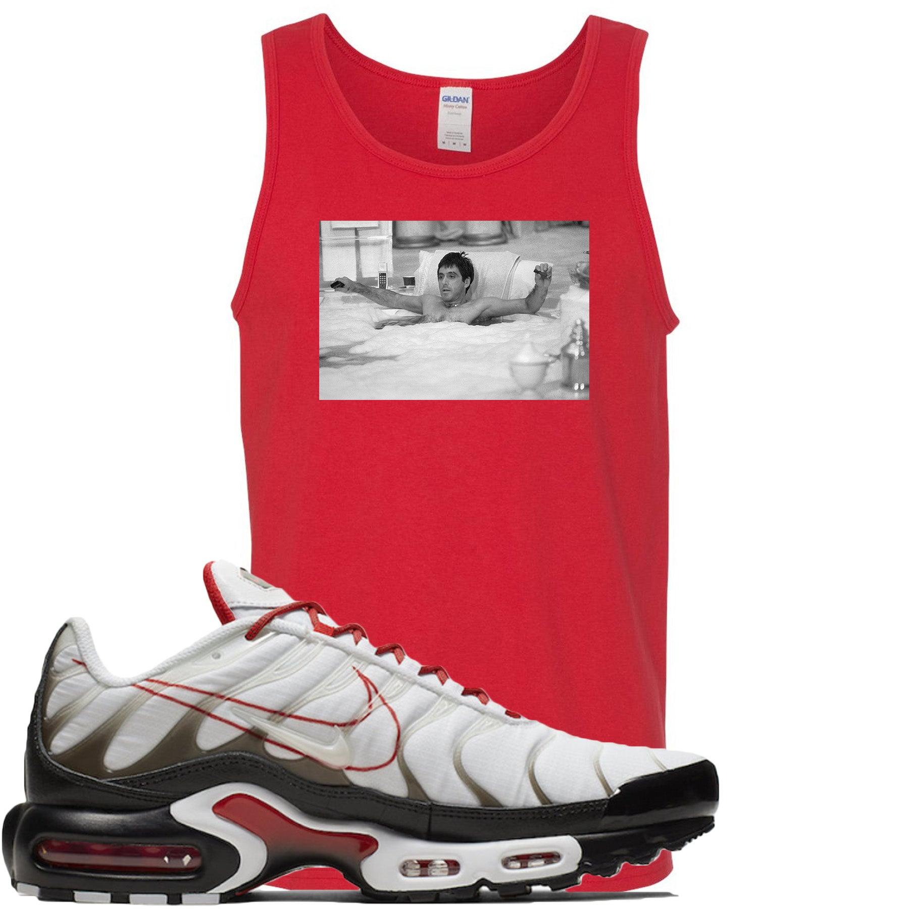 factory authentic e2123 3d656 Nike Air Max Plus White University Red Sneaker Match Bathtub Scarface Red  Mens Tank Top