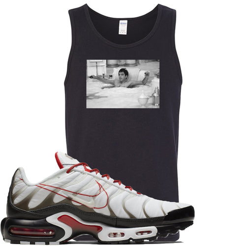 Nike Air Max Plus White University Red Sneaker Match Bathtub Scarface Black Mens Tank Top