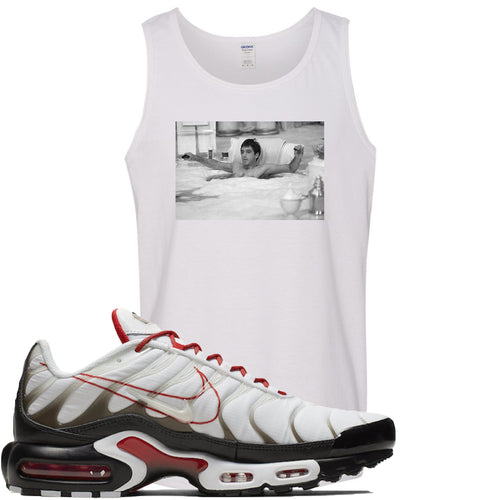 Nike Air Max Plus White University Red Sneaker Match Bathtub Scarface White Mens Tank Top