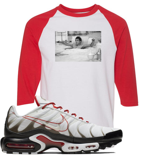 Nike Air Max Plus White University Red Sneaker Match Bathtub Scarface White and Red Raglan T-Shirt