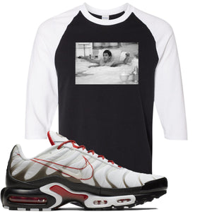 Nike Air Max Plus White University Red Sneaker Hook Up Bathtub Scarface Black and White Raglan T-Shirt