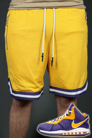 The Los Angeles yellow shorts to match Lebron 8 Lakers sneakers by Jordan Craig.