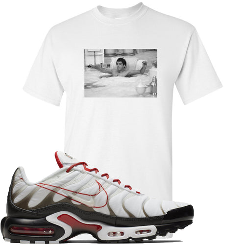 Nike Air Max Plus White University Red Sneaker Match Bathtub Scarface White T-Shirt