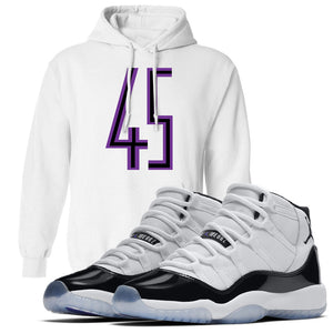 Match your Jordan 11 Concord sneakers with this white Concord 11 sneaker matching hoodie