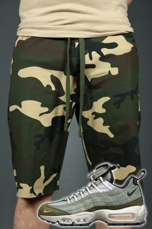 The camo mens terry cloth shorts with Jordan Craig sneakers.
