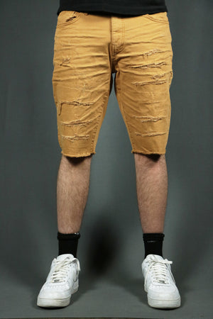 Model wearing the khaki ripped men shorts.
