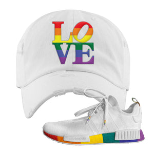 NMD R1 Pride Distressed Dad Hat | White, Love Park