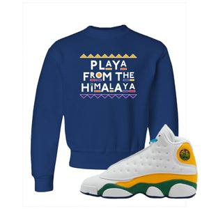Playa From the Himalaya Royal Blue Kid's Crewneck Sweatshirt to match Air Jordan 13 GS Playground Kids Sneakers