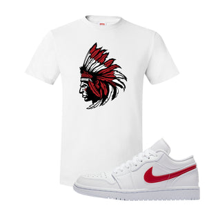 Air Jordan 1 Low White and Varsity Red T Shirt | Indian Chief, White