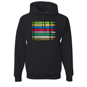 Philly Crayons Pull Over Hoodie | Colors of Philly Crayons Black Pullover Hoodie the front of this hoodie has the crayons of philly