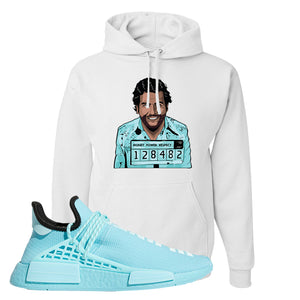 Pharell x NMD Hu Aqua Hoodie | Escobar Illustration, White