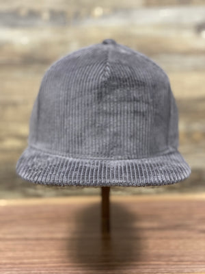 front of Grey Corduroy Snapback | Corduroy Snapback for Embroidery | Foot clan for brand startup