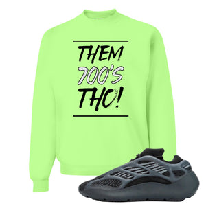 Yeezy Boost 700 V3 Alvah Sneaker Neon Green Crewneck Sweatshirt | Crewneck match Adidas Yeezy Boost 700 V3 Alvah Shoes | Them 700's Tho!