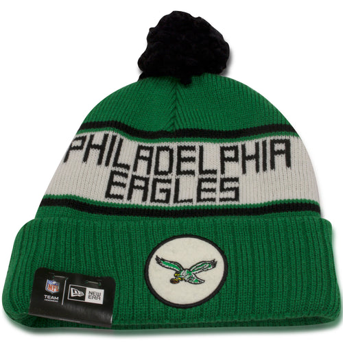 Philadelphia Eagles Throwback Kelly Green / Vintage White Patch Knit Beanie