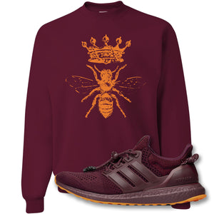 Royal Bee Crest Maroon Crewneck Sweatshirt to match Ivy Park X Adidas Ultra Boost Sneaker