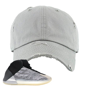 Yeezy Quantum Distressed Dad Hat | Light Gray, BLANK