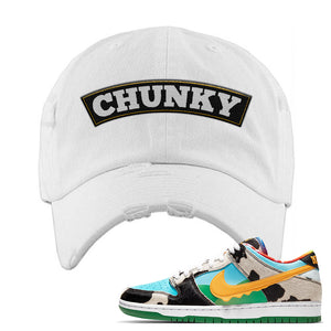 SB Dunk Low 'Chunky Dunky' Distressed Dad Hat | White, Chunky