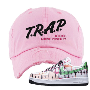 Air Force 1 Low Multi-Colored Tie-Dye Distressed Dad Hat | Light Pink, Trap To Rise Above Poverty