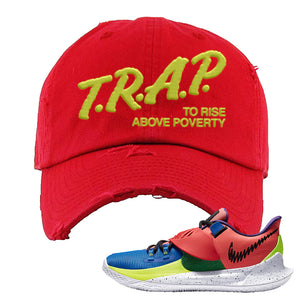 Kyrie Low 3 NY vs NY Distressed Dad Hat | Trap To Rise Above Poverty, Red