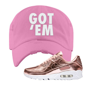 Air Max 90 WMNS 'Medal Pack' Rose Gold Sneaker Pink Distressed Hat | Hat to match Nike Air Max 90 WMNS 'Medal Pack' Rose Gold Shoes | Got Em