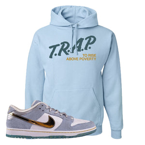 Sean Cliver x SB Dunk Low Hoodie | Trap To Rise Above Poverty, Light Blue