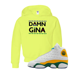 Damn Gina Safety Green Kid's Pullover Hoodie to match Air Jordan 13 GS Playground Kids Sneakers